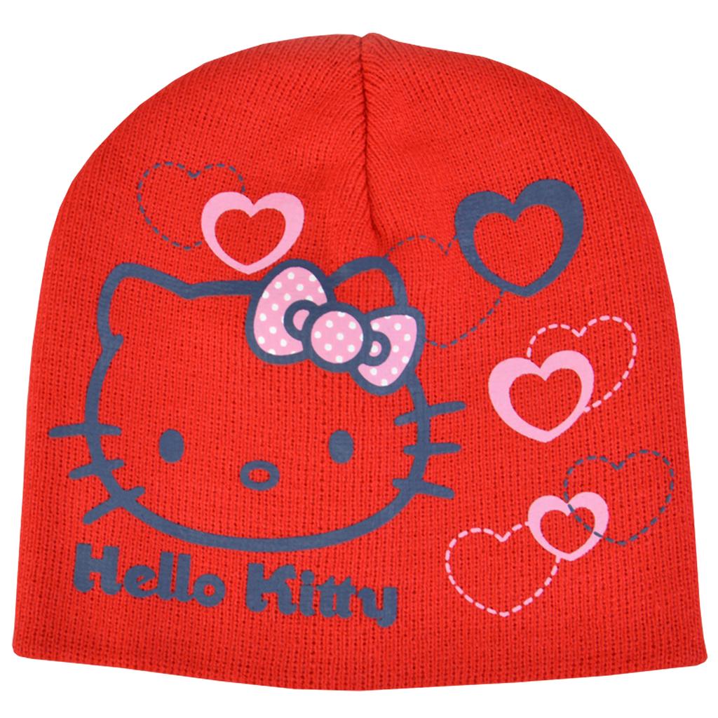 Бебешка шапка с Hello Kitty червена