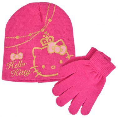Комплект зимна шапка и ръкавици HELLO KITTY розово
