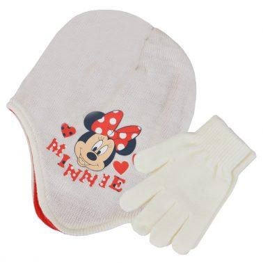 Комплект ушанка и ръкавици с Мини Маус бял