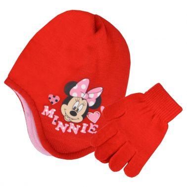 Комплект ушанка и ръкавици с Мини Маус червен