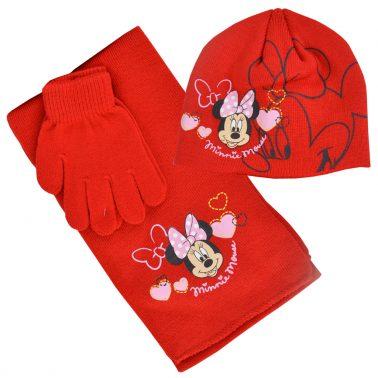 Комплект шапка, шал и ръкавици с Мини Маус червен