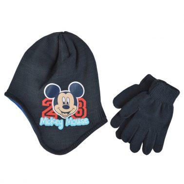 Комплект шапка-ушанка с Мини Маус и ръкавици тъмно син