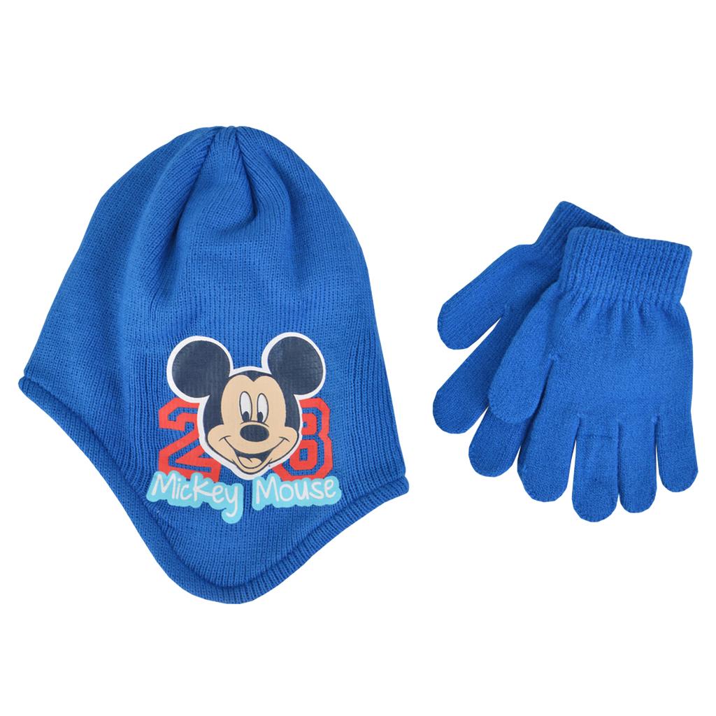 Комплект шапка-ушанка с Мини Маус и ръкавици син