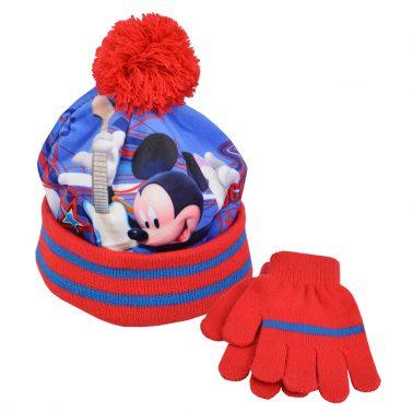 Шапка в комплект с ръкавици с Мики Маус червен