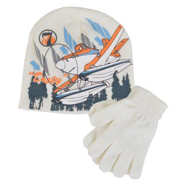 Детска шапка с ръкавици с щампа с Дъсти от Самолетите бяла