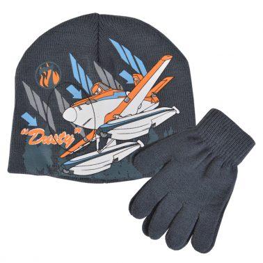 Детска шапка с ръкавици с щампа с Дъсти от Самолетите сива