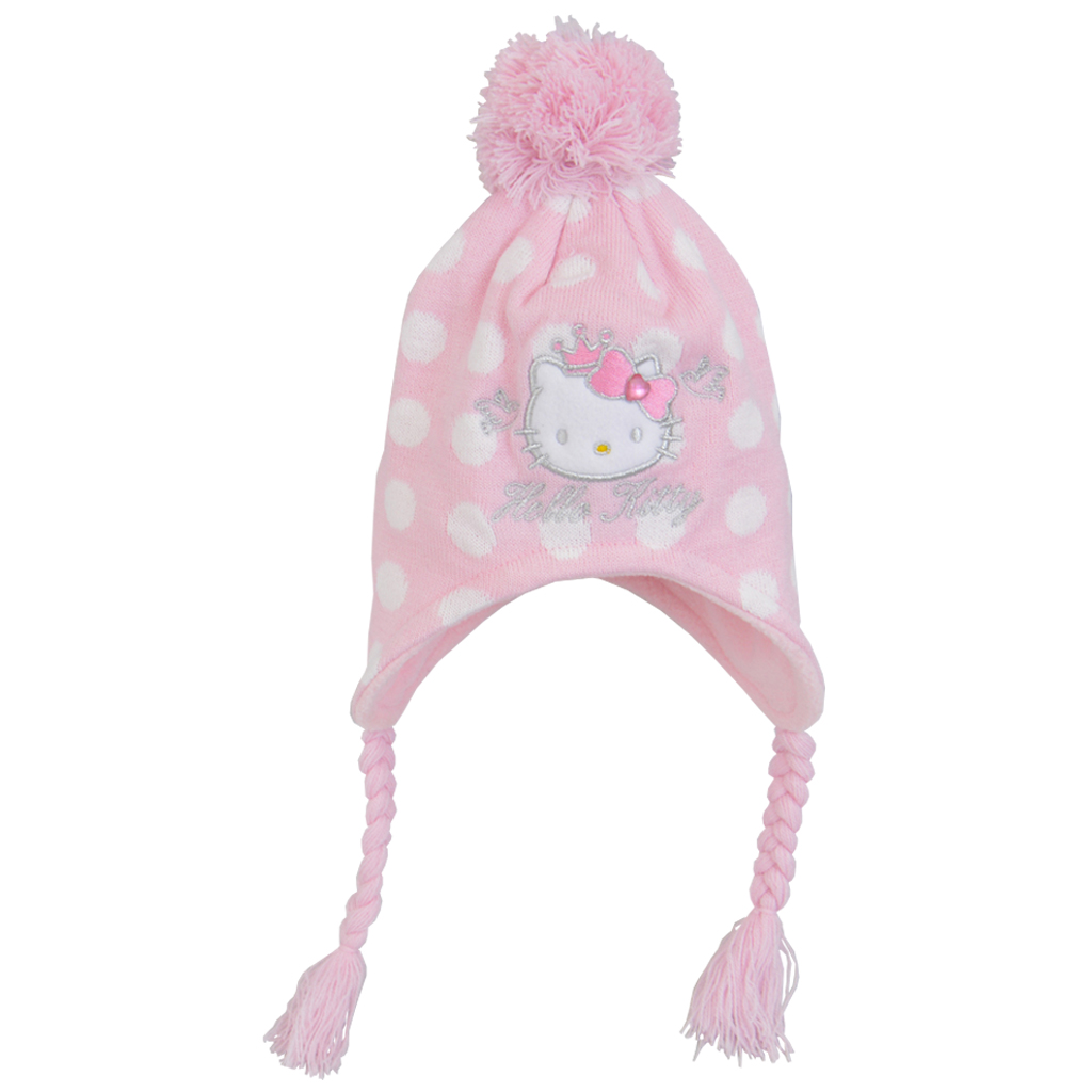 Бебешка ушанка с HELLO KITTY с плитки розова