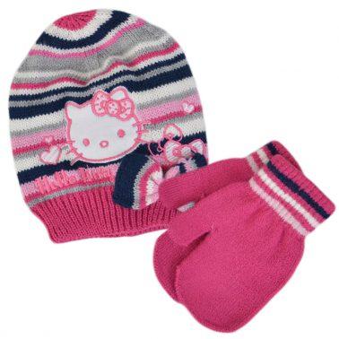 Бебешка шапка с Hello Kitty в комплект с ръкавици с палец циклама