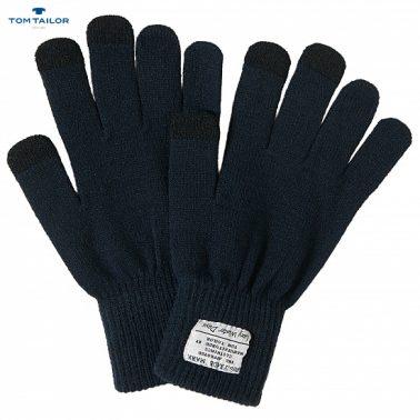 Плетени тъмно сини ръкавици с пет пръста за момчета Tom Tailor