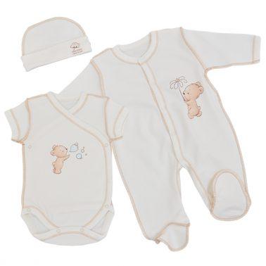Комплект за изписване на новородено от 100% органичен памук в 3 части екрю