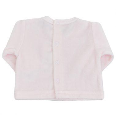 Бебешки комплект от блуза с бродерия с биберони и ританки розов