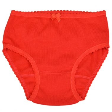 Детски бикини с къдрички в червено