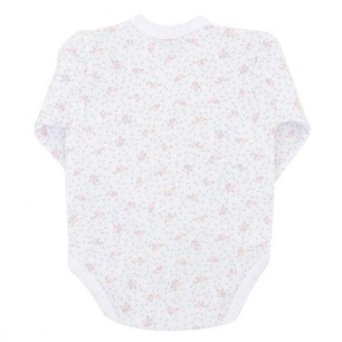 Бебешко боди с прехлупване украсено с малки цветчета розово