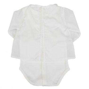 Боди - блуза с къдрички екрю
