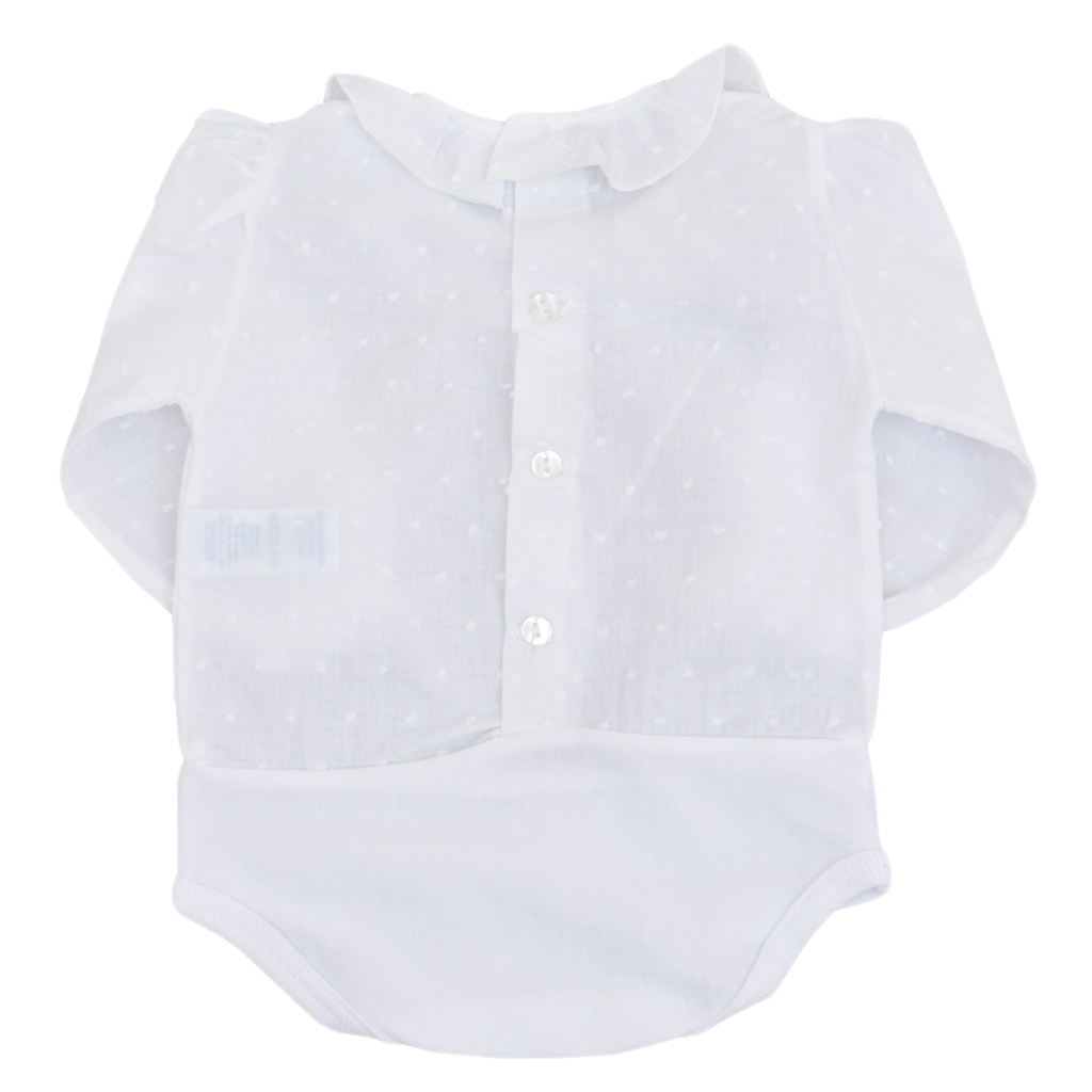 Бебешка официална блуза-боди с яка бяла