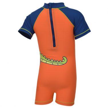 Цял бебешки бански за момче с динозавър оранжев