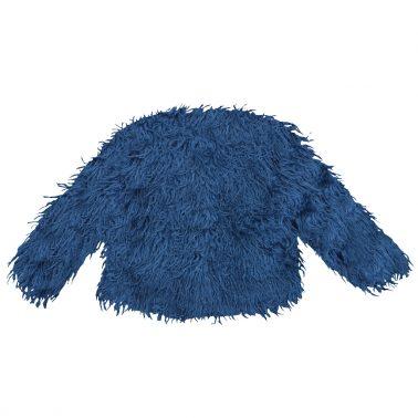 Елегантно детско сако с дълъг косъм синьо