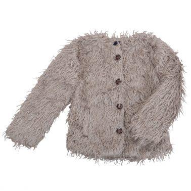 Елегантно детско сако с дълъг косъм сиво