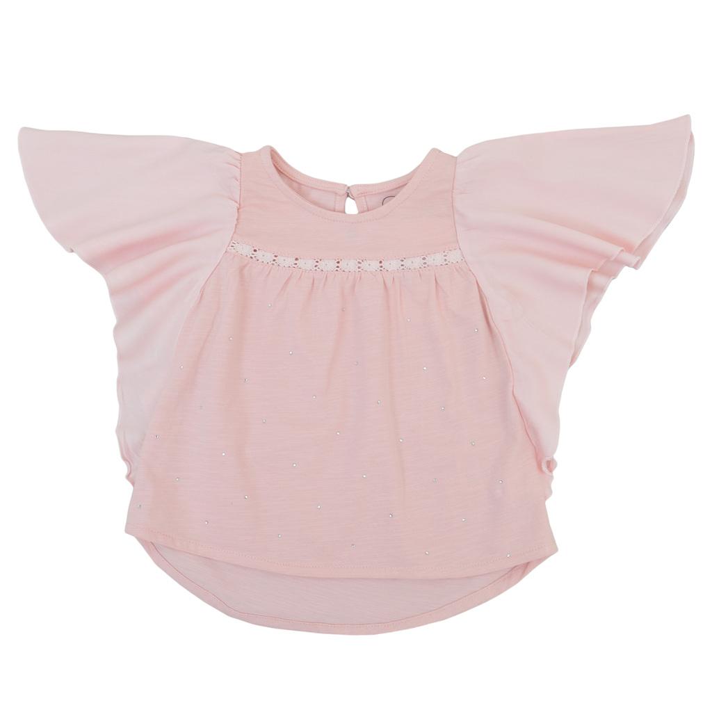 """Модерна блуза """"пеперуда"""" с камъчета розова"""