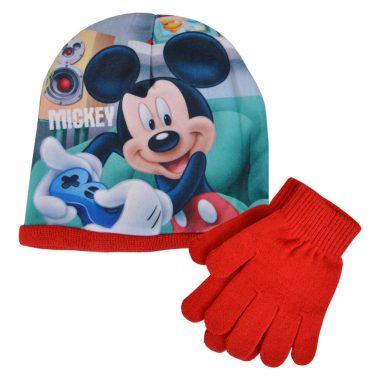 Зимна шапка с Мики Маус в комплект с ръкавици червен