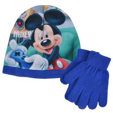Зимна шапка с Мики Маус в комплект с ръкавици син
