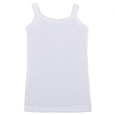 Памучен корсаж с тънка презрамка бял цвят