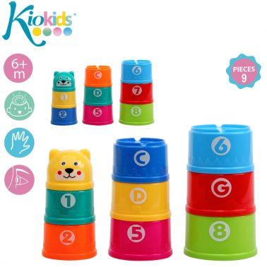 Кула от цветни чашки 9бр. в комплект