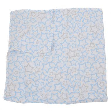 Памучна пелена Newness с рехава структура на звездички синя