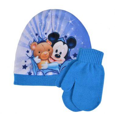Бебешка шапка с Мики Маус и ръкавици с палец син