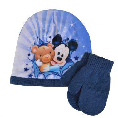 Бебешка шапка с Мики Маус и ръкавици с палец тъмно син