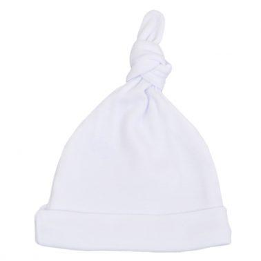 Бебешка шапка с възел бяла