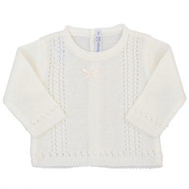 Бебешки пролетен пуловер от фино плетиво екрю