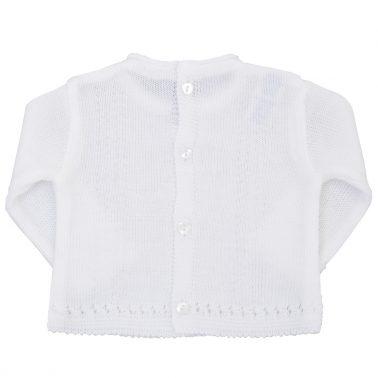 Бебешки пролетен пуловер от фино плетиво бял