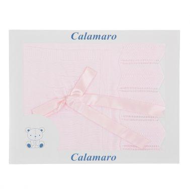 Плетена бебешка пелена със сатенена панделка розова