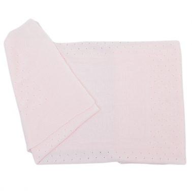 Луксозна бебешка плетена ажурна пелена розова