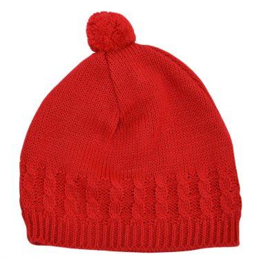Бебешка плетена шапка с помпон червена