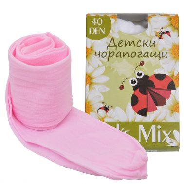 Детски тънък чорапогащник едноцветен розов