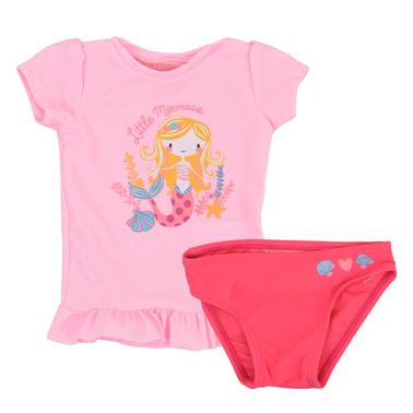 Бански костюм от тениска и бикини с щампа русалка в бледо розово