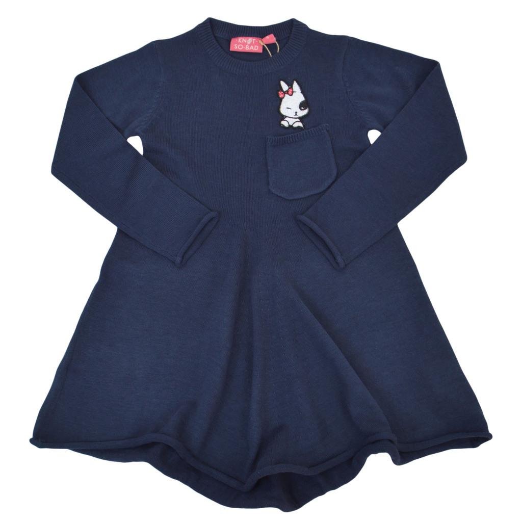 Ефирна рокля от фино плетиво с джобче и зайче тъмно синя