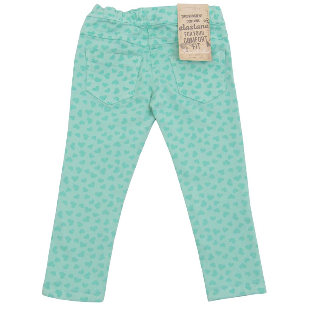 Еластичен панталон с ластик покрит със сърчица зелен