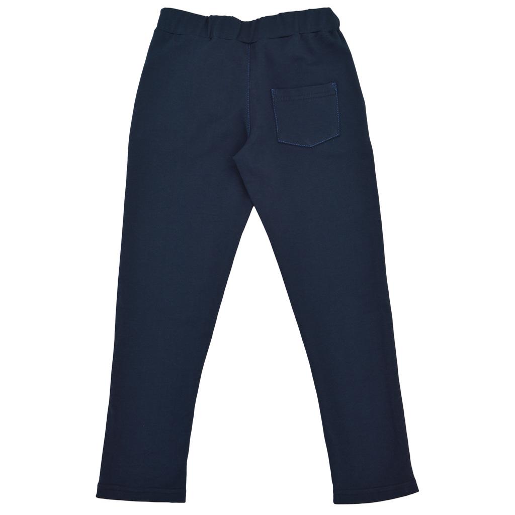 Спортно-елегантен панталон със странично закопчаване на талията тъмно син