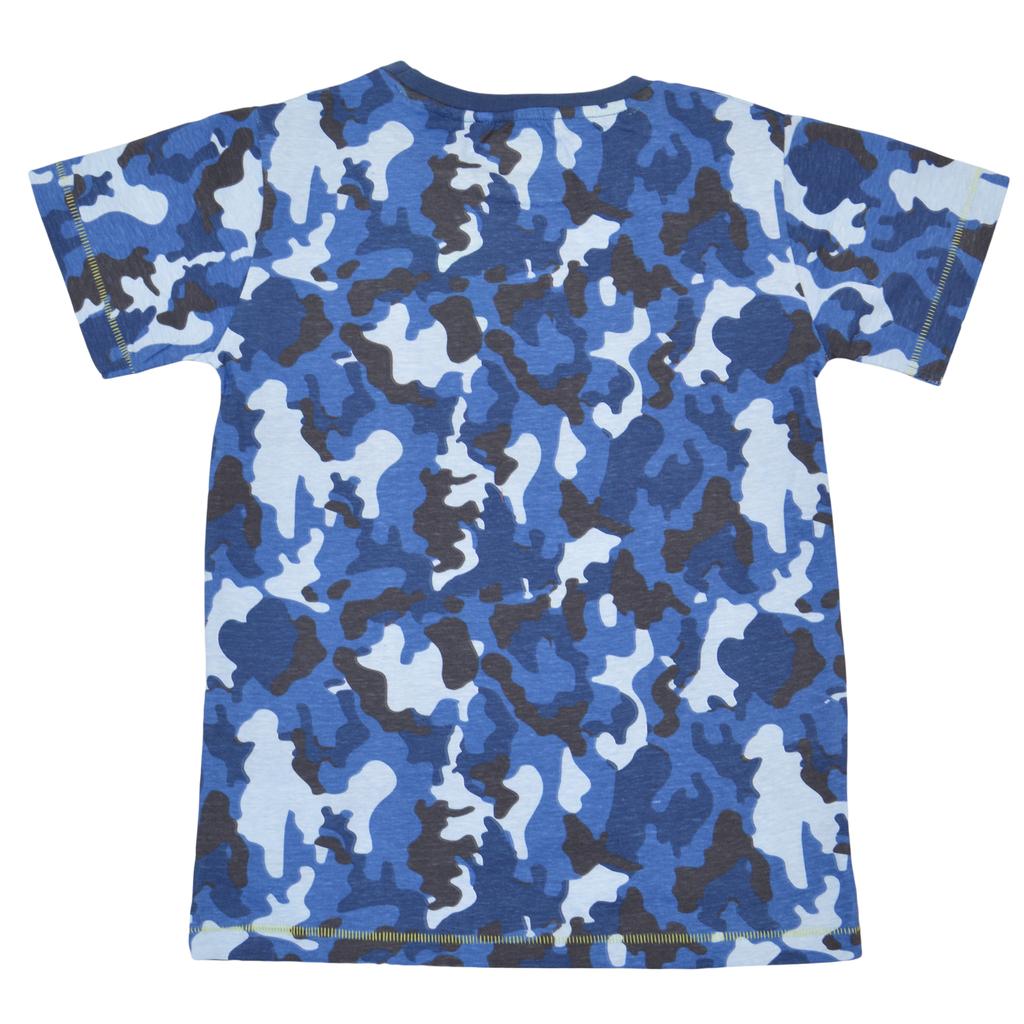 Камуфлажна тениска в син цвят с ярък надпис