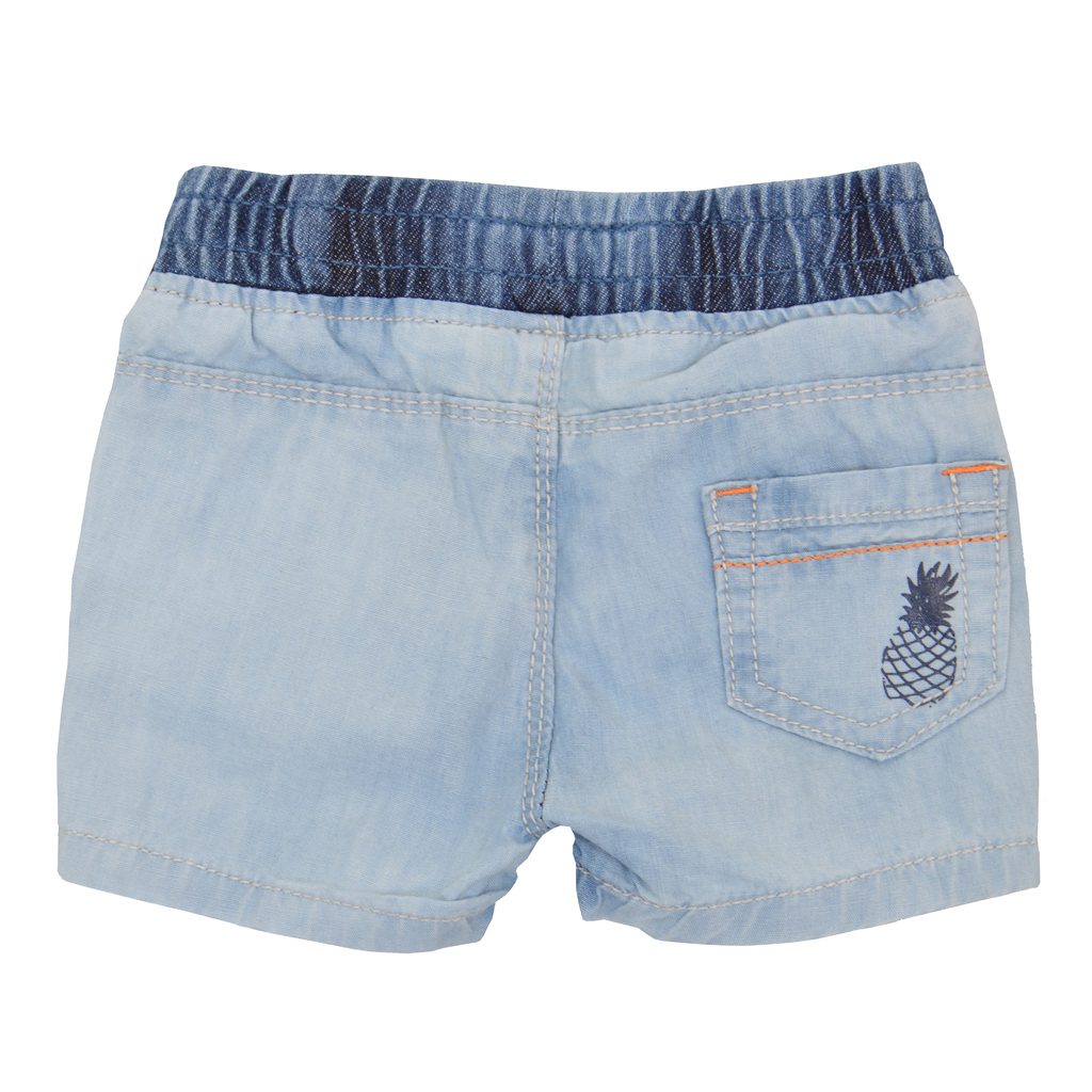 Дънкови къси панталонки с ананас светло сини