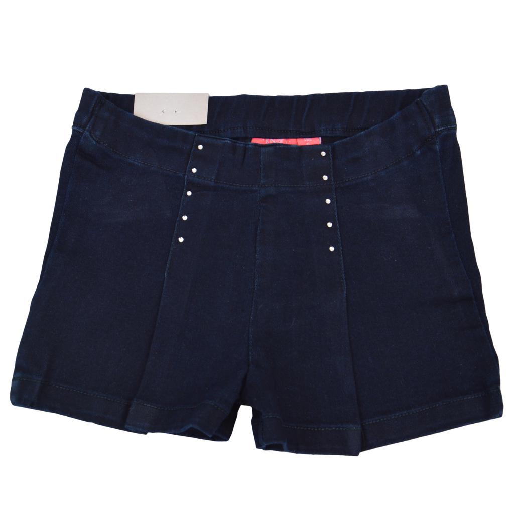 Елегантни къси панталонки с камъчета и басти тъмно сини