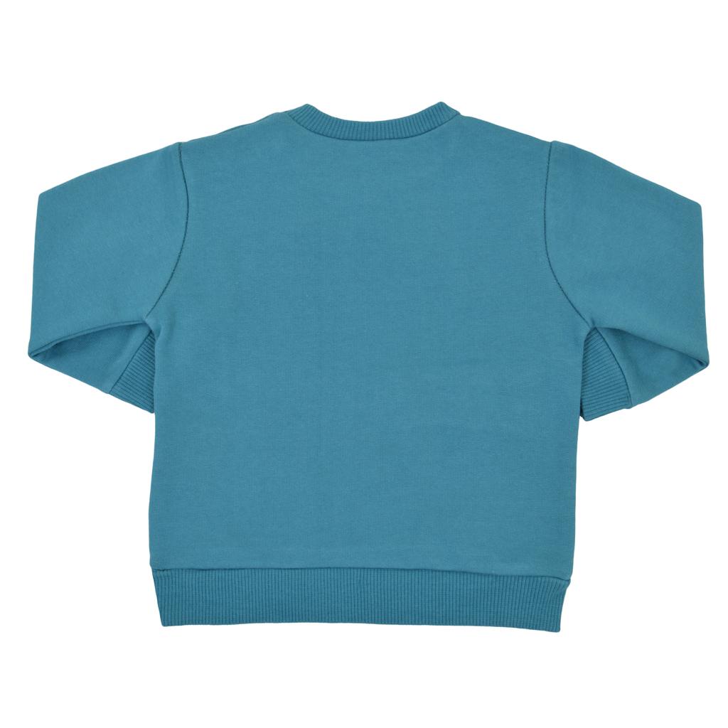 Топла спортна блузка с шарен динозавър син петрол