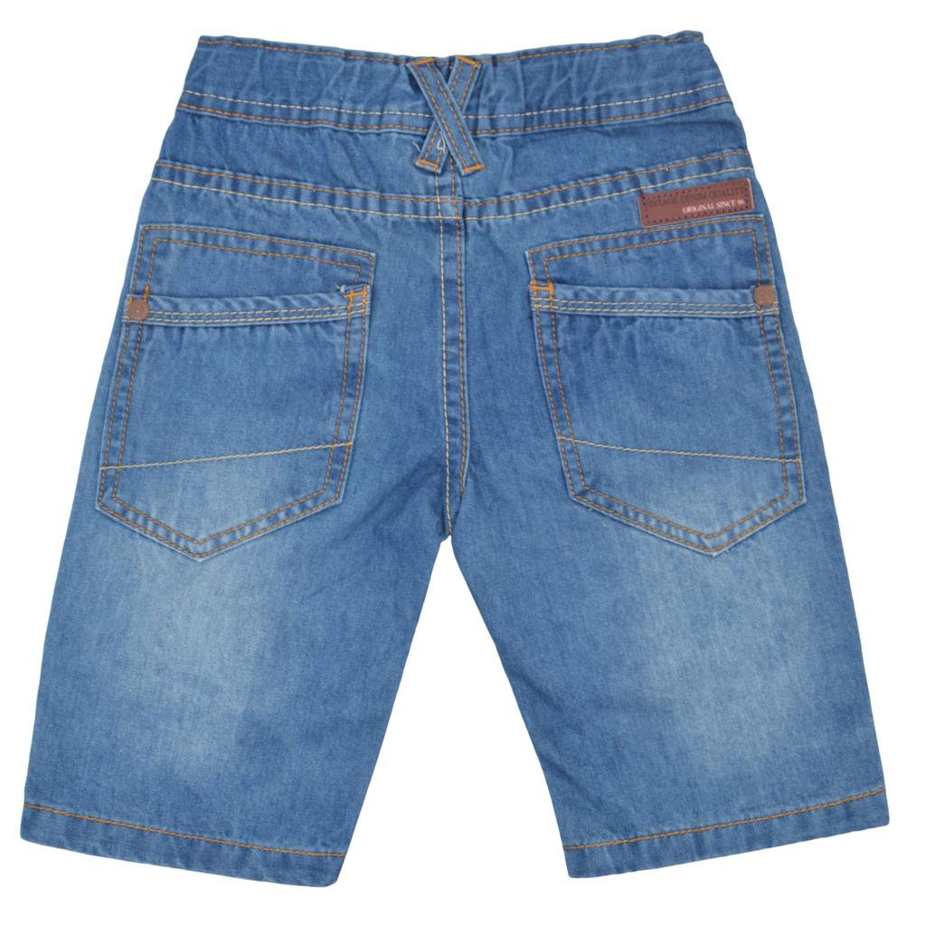 Детски къс дънков панталон с щампа на коляното деним