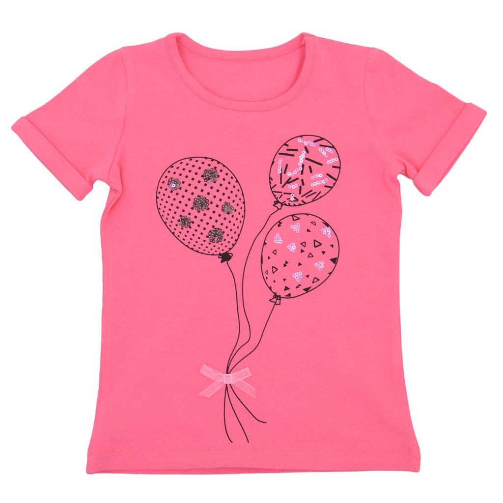 Блуза къс ръкав с балони и пайети малина