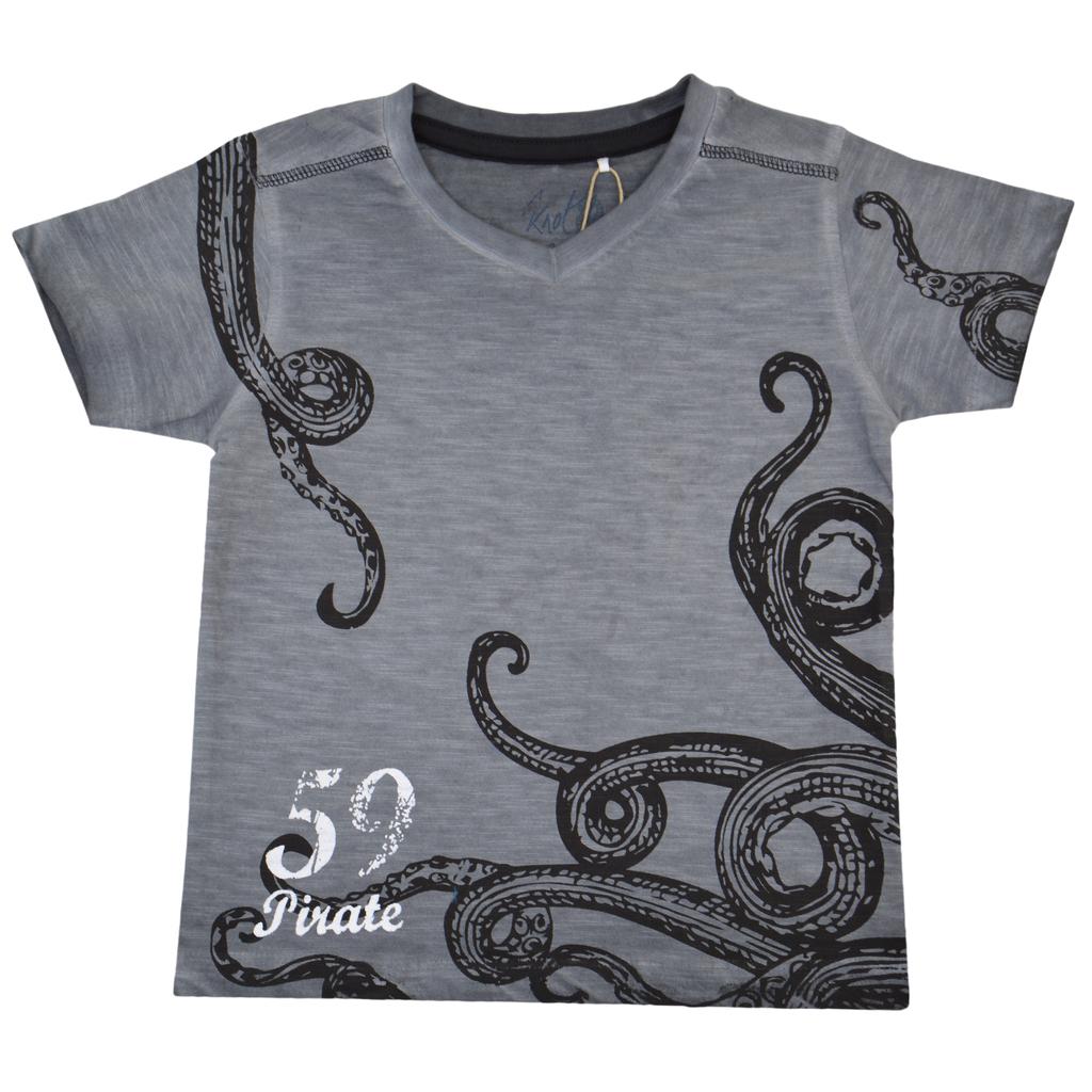Детска лятна блуза с октопод сива