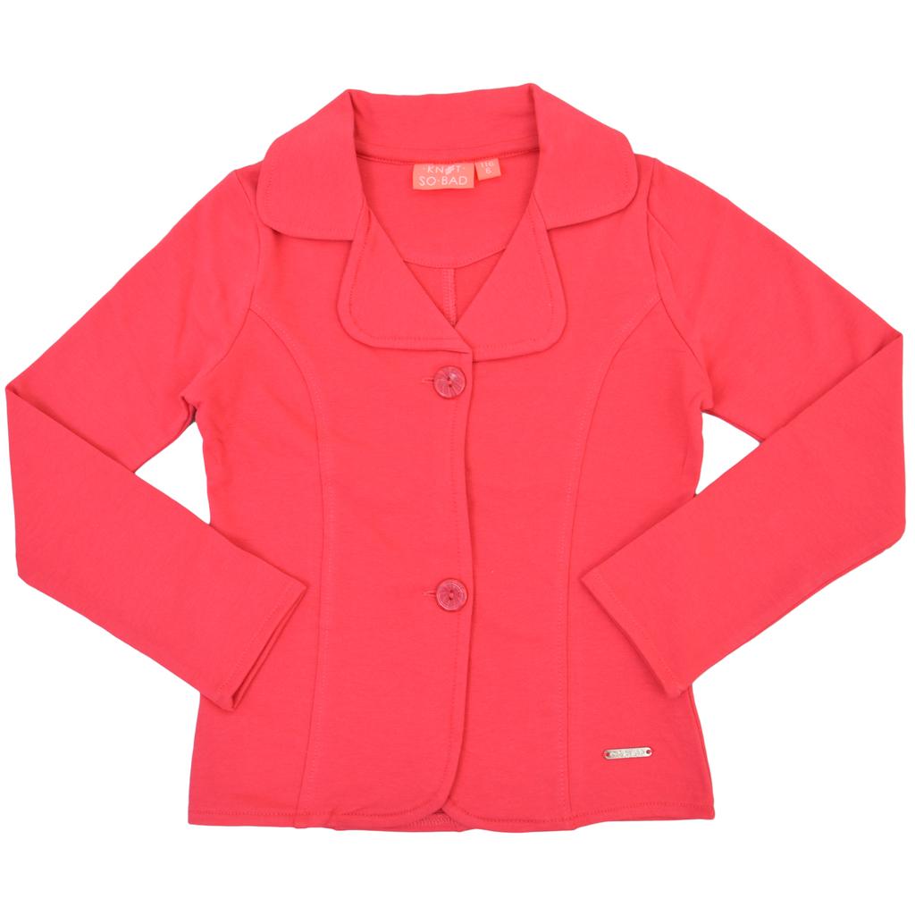 Елегантно сако с цвят на малина и рединготни шевове