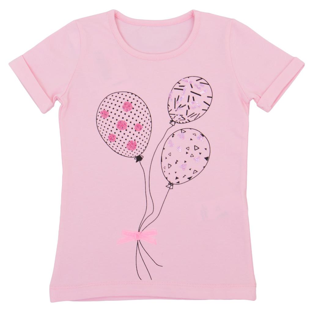 Блуза къс ръкав с балони и пайети розова